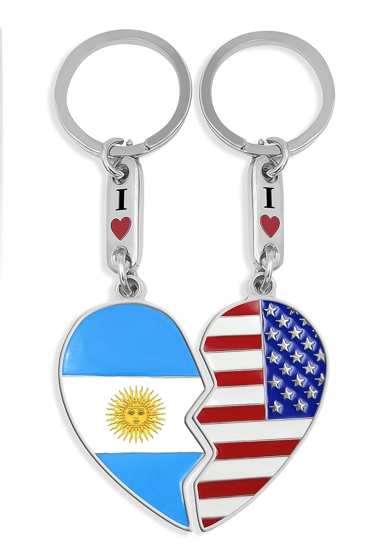 Keychain USA & Argentina Heart