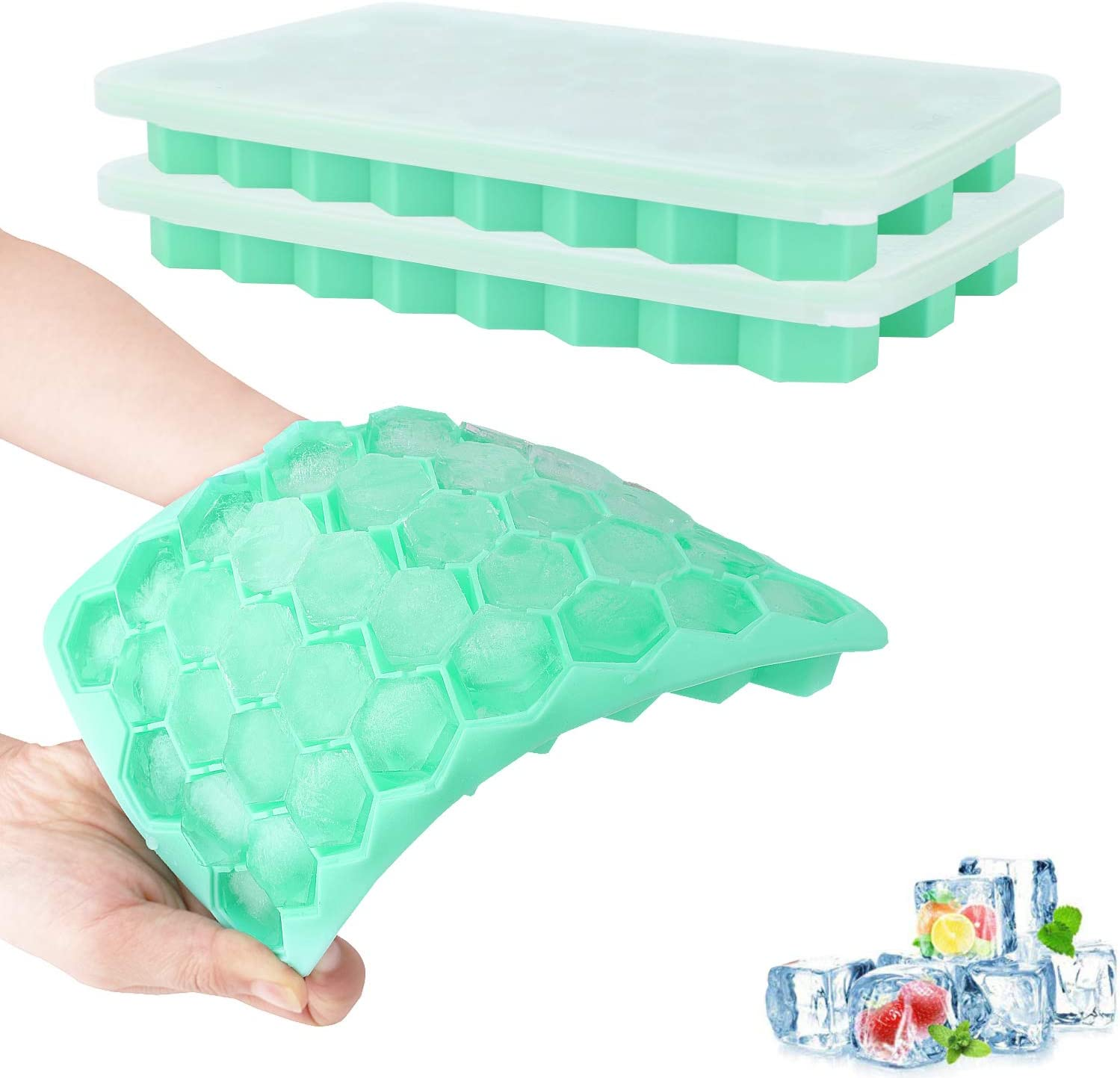 Nuovoware 2 Pack Ice Cube Trays, Totally 76-Ice Pop Molds Easy-Release Silicone Ice Pop Makers with Spill-Resistant Removable Lid, Kitchen Gadget, Stackable & Flexible - Cyan Blue