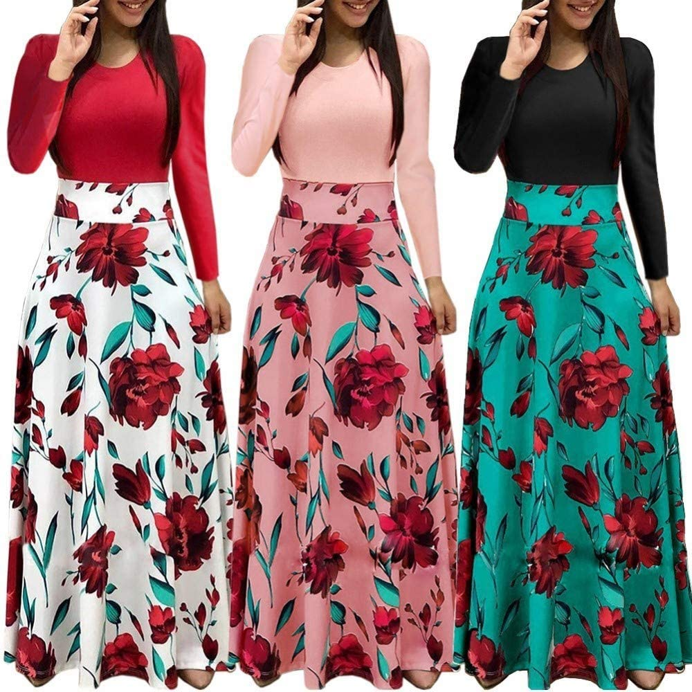 Aublary Womens Long Sleeve Maxi Dress Round Neck Floral Print Casual Tunic Long Maxi Dress: Clothing