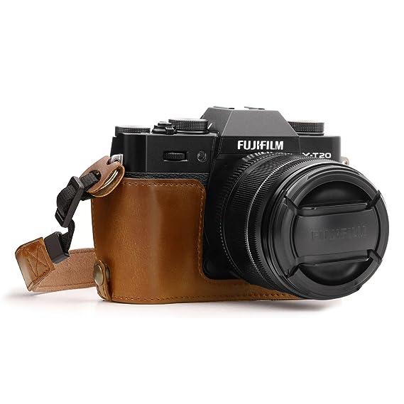 MegaGear Ever Ready Leder Kamera Halbtasche mit Trageriemen kompatibel mit Fujifilm X-T30, X-T20, X-T10