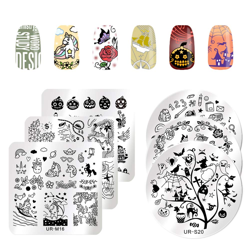 UR SUGAR 6Pcs Nail Stamping Plates Set Halloween Dreamcatcher Flower Image Template Maincure Print DIY Tools Kit for Starter CoulorButtons
