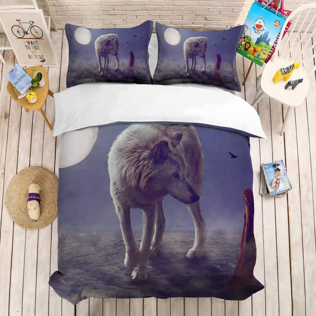 MOUMOUHOME 100% Microfiber Comforter Cover Giant Wolf with Beautiful Girl in Red Dress 3D Print Duvet Cover Bedding Sets for Girls Women,No Comforter Twin