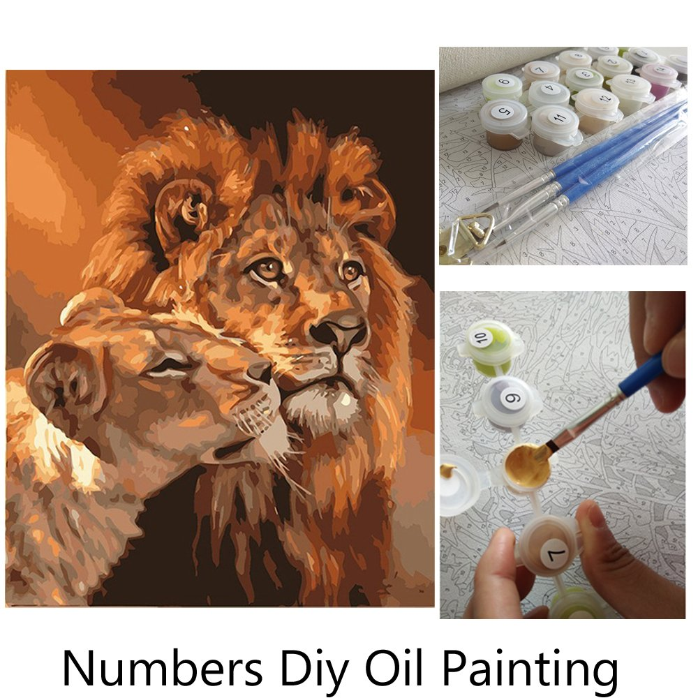 Aksuo Paint by Numbers Kits Diy Canvas Oil Painting for Kids, Students, Adults Beginner - 7 cute dogs 16 x 20 inch with Brushes and Acrylic Pigment(With Framed) painting 7 dogs-ozFramed