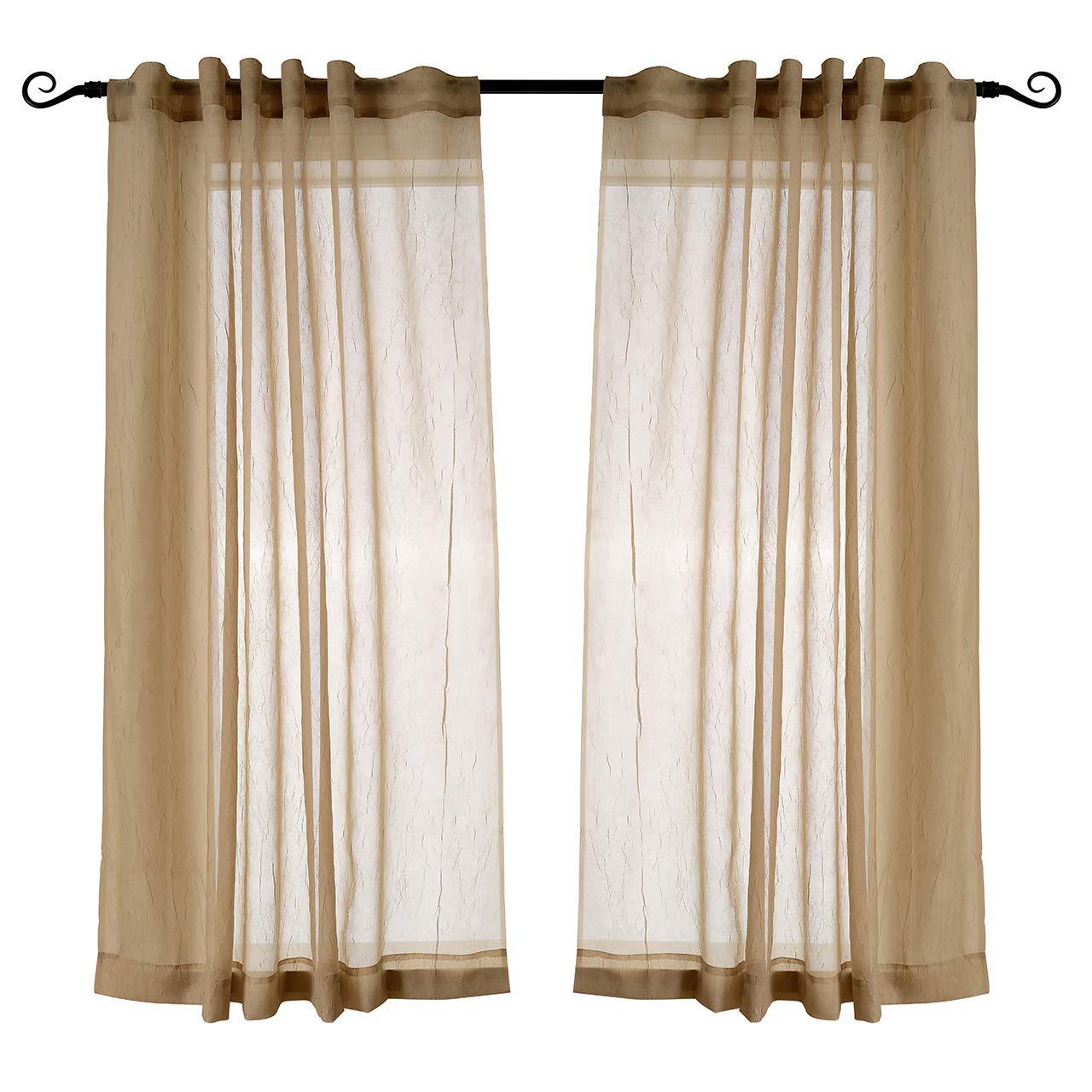 MYSKY HOME Semi Sheer Curtains 63 Inch Length for Bedroom Rod Pocket and Back Tap Crushed Design Sheer Curtain Panels for Living Room (Mocha, 51'' W x 63'' L, Set of 2 Crinkle Sheer Drapes)