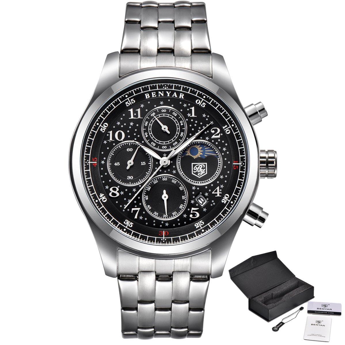 86b90b93ef21 Amazon.com  Men s Watch Luxury Brand Business Planet Sport Date Waterproof Steel  Chronograph Silver Black Quartz Watch (Silver black)  Watches