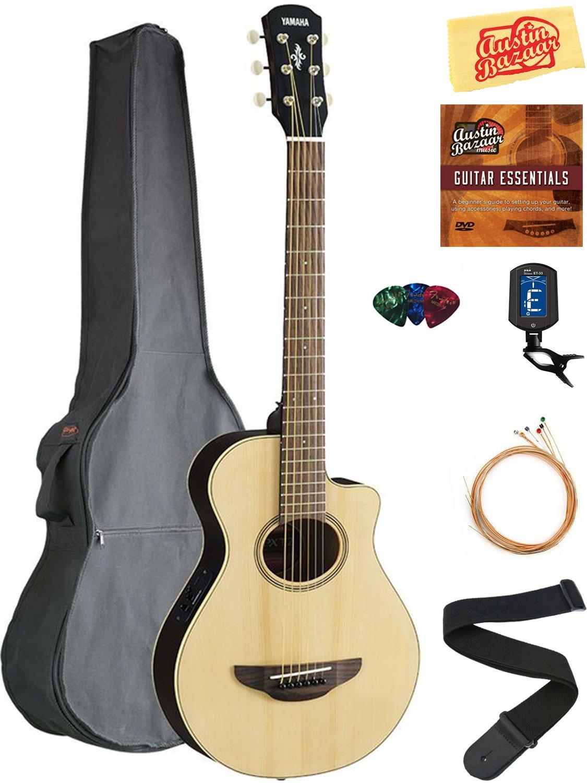 Yamaha APXT2 3/4-Size Acoustic-Electric Guitar - Natural Bundle with Gig Bag, Tuner, Strings, Strap, Picks, Austin Bazaar Instructional DVD, and Polishing Cloth by YAMAHA