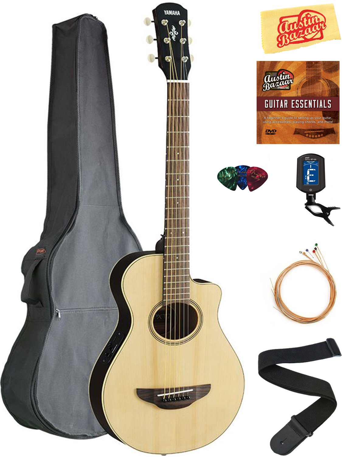 Yamaha APXT2 3/4-Size Acoustic-Electric Guitar - Natural Bundle with Gig Bag, Tuner, Strings, Strap, Picks, Austin Bazaar Instructional DVD, and Polishing Cloth