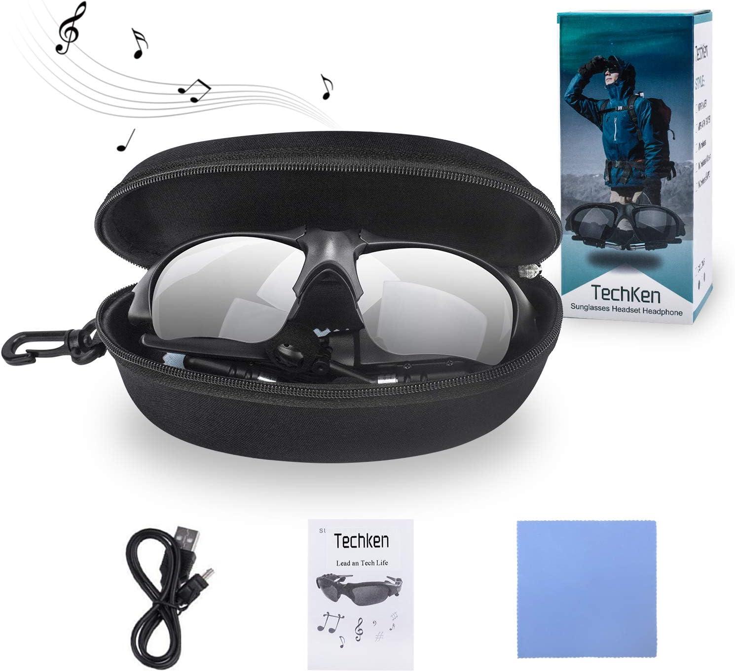 TechKen Sunglasses Headset Headphone Bluetooth Wireless Music Sunglasses Headsets