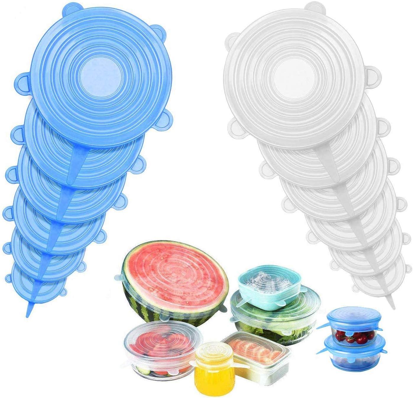 Tazas Tapa de Silicona Estirable Cocina Boles Tarros Redondas y Cuadradas Reutilizable expandibles paquete de alimentos Cubiertas para Alimentos XUBX 12 Piezas Tapas de Silicona El/ásticas