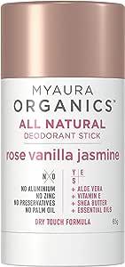 MyAura Organics MyAura Organics All Natural Deodorant Rose Vanilla Jasmine, Rose Vanilla Jasmine, 65 g