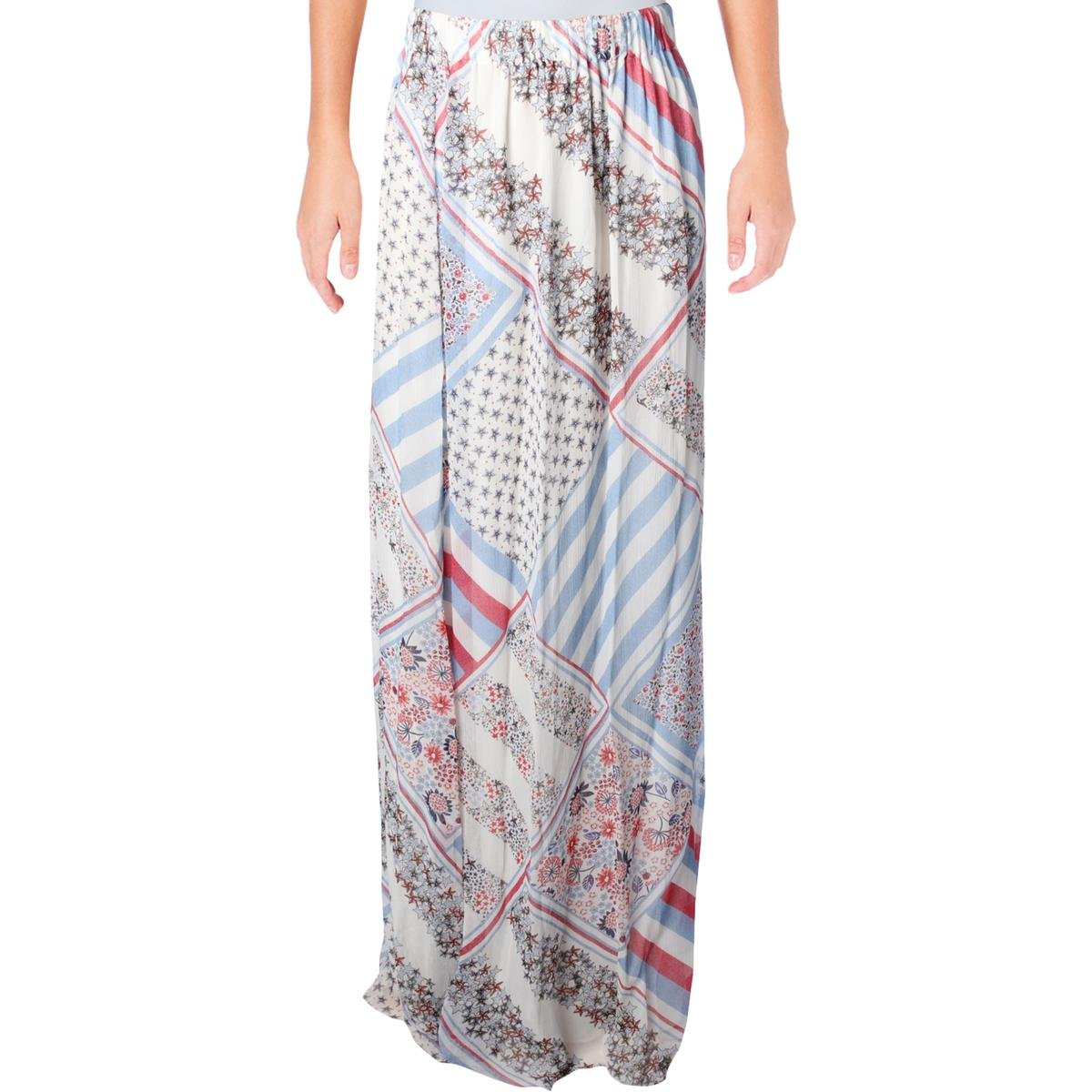 Tommy Hilfiger Womens Silk Printed Maxi Skirt Multi 6 by Tommy Hilfiger