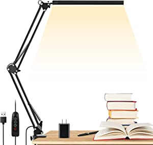 LED Desk Lamp, ENOCH 14W Eye-Caring Metal Swing Arm Desk Lamp with Clamp, 3 Modes, 30 Brightness Dimmable Clamp Desk Light with Memory Function/USB Adapter, Architect Table Desk Lamps for Home Office