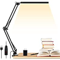 LED Desk Lamp, ENOCH 14W Eye-Caring Metal Swing Arm Desk Lamp with Clamp, 3 Modes, 30 Brightness Dimmable Clamp Desk…