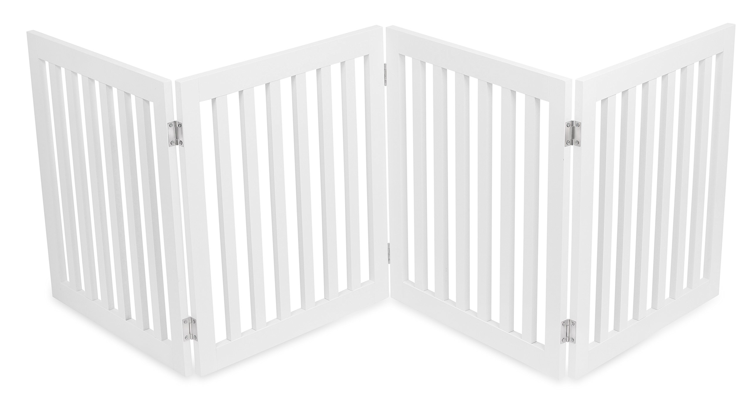 Internet's Best Traditional Pet Gate | 4 Panel | 24 Inch Step Over Fence | Free Standing Folding Z Shape Indoor Doorway Hall Stairs Dog Puppy Gate | White | Wooden