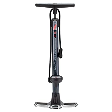 Schwinn Air Center Plus Floor Pump for Bicycles, Fits Schader and Presta Valve Types, Includes Needle to inflate Sports Balls for Volleyball, Football, Soccer, and Basketball, with Gauge, Navy Blue