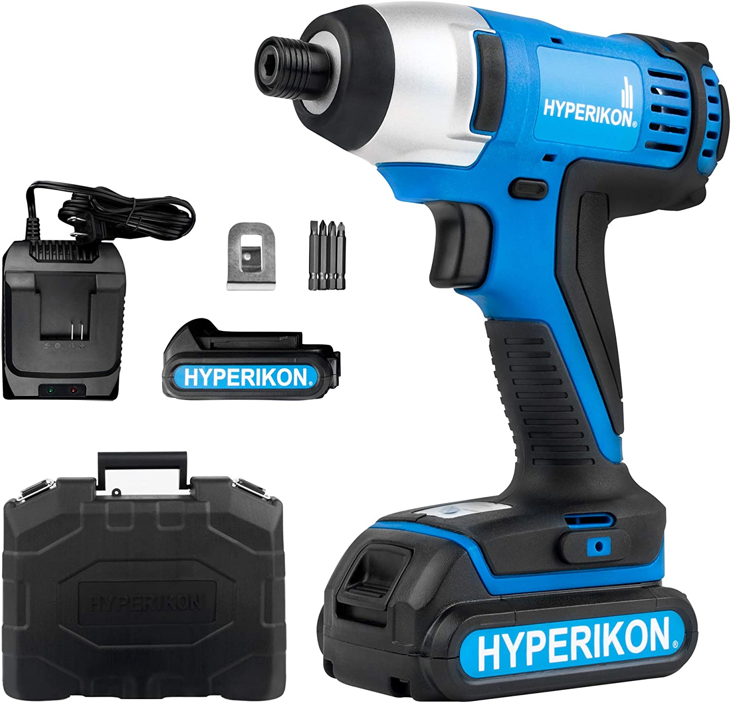 Hyperikon Cordless Impact Driver, 1 4 Inch, 1.5Ah, Compact Impact Driver Tool, Carrying Bag, Extra Battery and 120V Charger Included