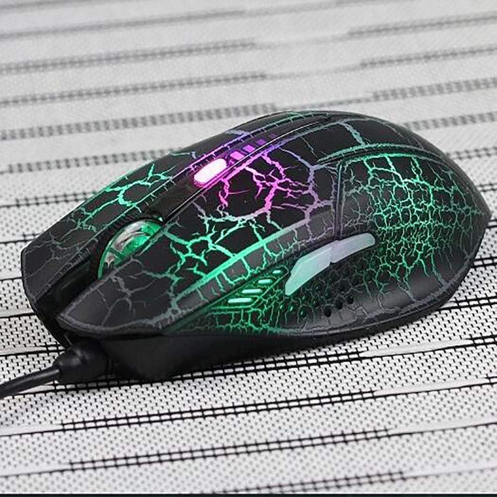Internet Cafe Crack Lumineux Souris, 5 Bouton Variable Poids à Quatre Réglage de la Vitesse Filaire Gaming Mouse 2400dpi Interface USB White