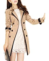 Reedbler Women Spring Autumn Korean Slim Double-Breasted Coat Pure color Female Retro Coat Plus
