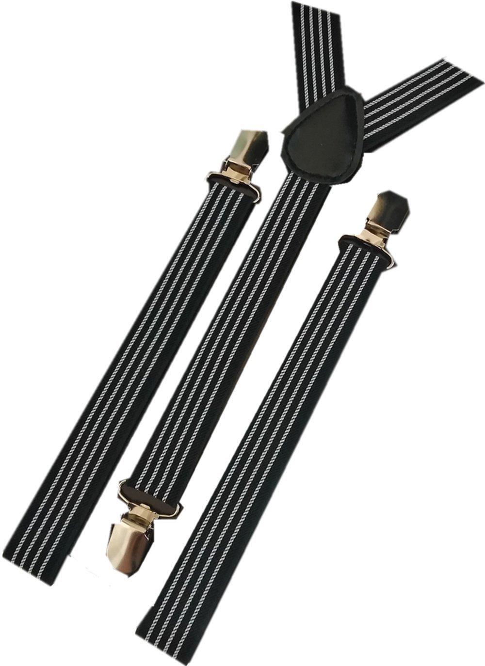 YUNEE Gentlemen Suspenders Solid Color Metal Clips Adjustable Elastic Shoulder Straps (a)