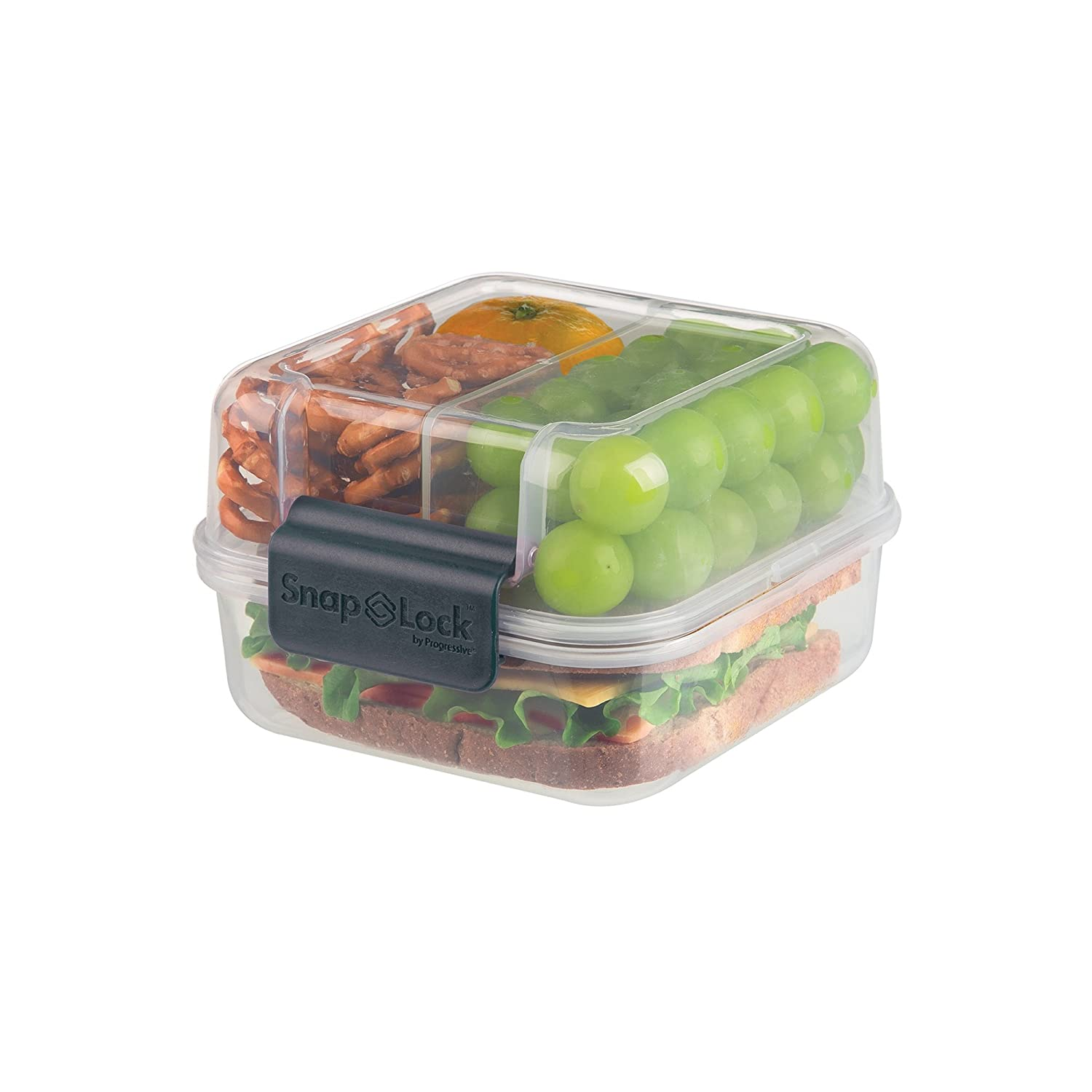 SnapLock by Progressive Lunch Cube To-Go Container - Gray, SNL-1005B Easy-To-Open, Silicone Seal, Snap-Off Lid, Stackable, BPA FREE