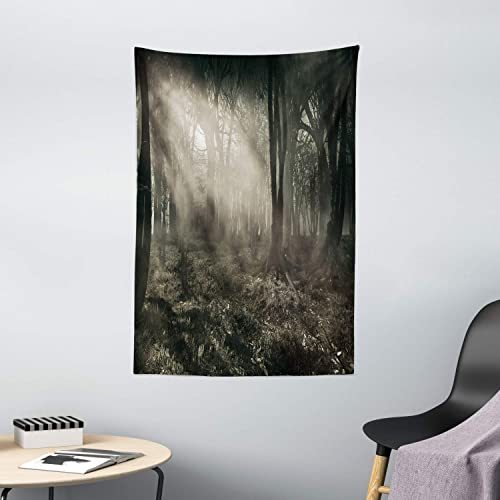Ambesonne Gothic Tapestry, Photo of Dark Forest Scenery with Sunbeams and Fog Vintage Nostalgic Colors Fantasy Art, Wall Hanging for Bedroom Living Room Dorm Decor, 40 X 60 , Brown