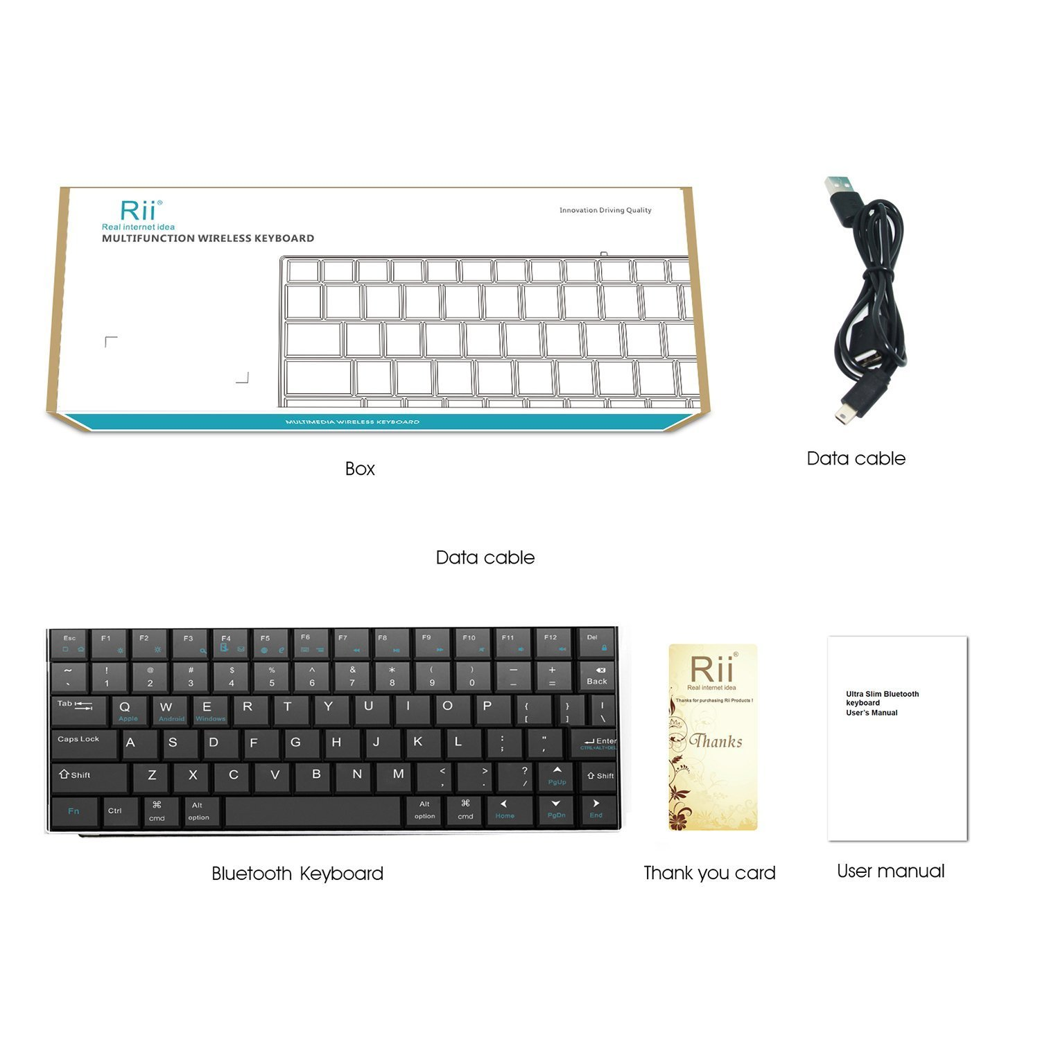 Rii i9 Bluetooth 3.0 Ultra Slim Wireless Rechargable Keyboard With Stainless Stand Cover For iOS/Android and Windows PC/Laptop/Notebook/MacBook/Samsung Galaxy Tablet/iPhone/iPad/Microsoft Surface by Rii (Image #6)