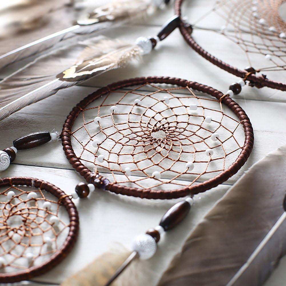 IMMIGOO Acchiappasogni Indiano Naturali Dreamcatcher Fatto a Mano Cattura Sogni Stanza Auto Decorazione Ornamento Regalo Marrone
