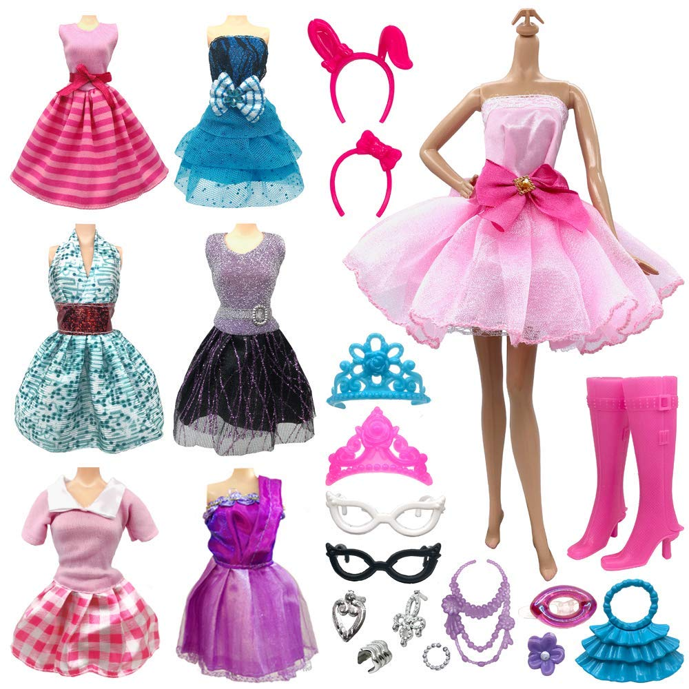 POQOD 28 Pcs Doll Clothes and Shoes Fashion Accessory Party Dresses Set for Barbie Doll