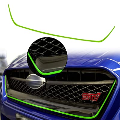 Xotic Tech for Subaru WRX STI 2015-2020 Front Grille Pinstripe Vinyl Sticker, Fluorescent Green Pre-Cut Styling Front Hood Panel Edge Molding Trim Decal: Automotive