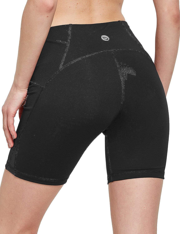BALEAF Womens 7 High Waist Workout Yoga Shorts Tummy Control Inner Pocketed Shorts
