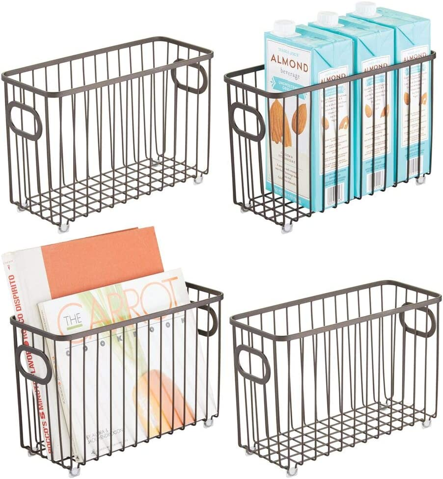 mDesign Metal Farmhouse Kitchen Pantry Food Storage Organizer Basket Bin - Wire Grid Design - for Cabinets, Cupboards, Shelves, Countertops - Holds Potatoes, Onions, Fruit - Small, 4 Pack - Bronze