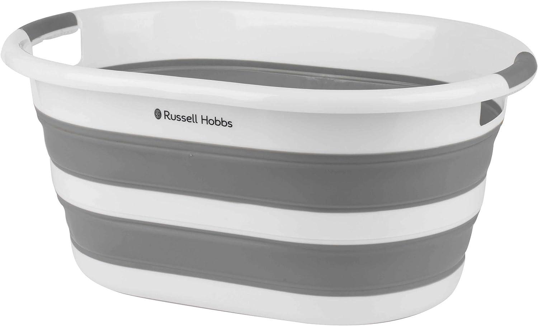 Cesta plegable ovalada para la ropa de plástico Russell Hobbs® LA053879WHTEU, 27 l, blanca/gris