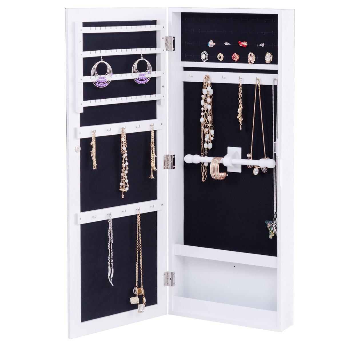 Giantex Jewelry Armoire Cabinet Wall Mounted Mirrored Jewelry Organizer Storage, Flash Silvery