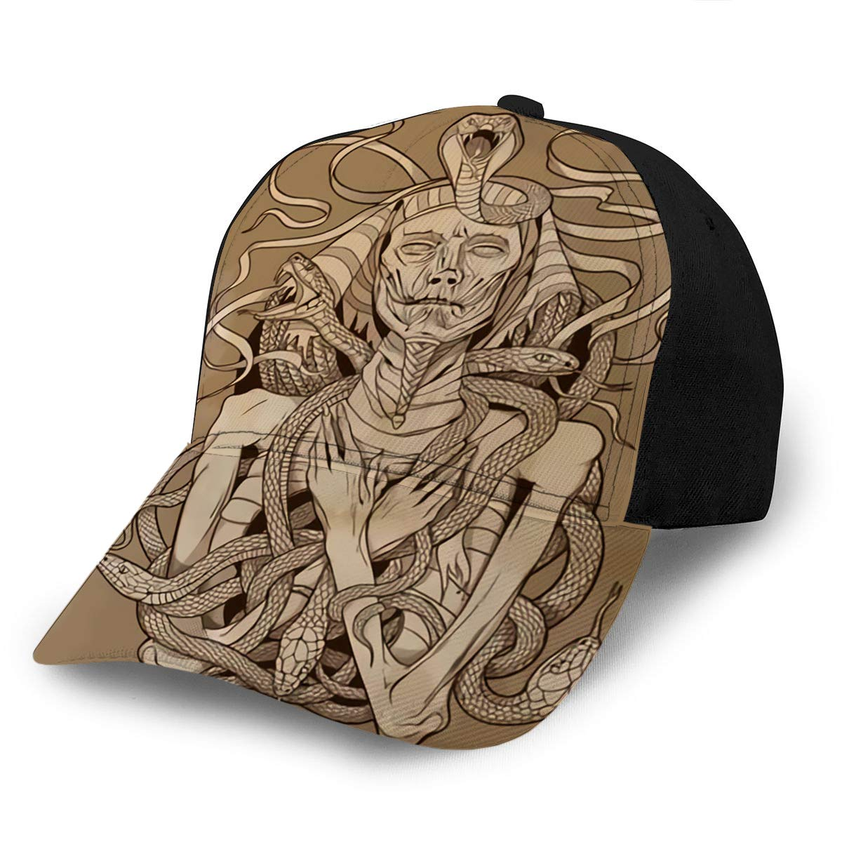 3D Printed Baseball Hat Cap Pharaoh Mummy with Snakes On Parchment Fits Men Wome