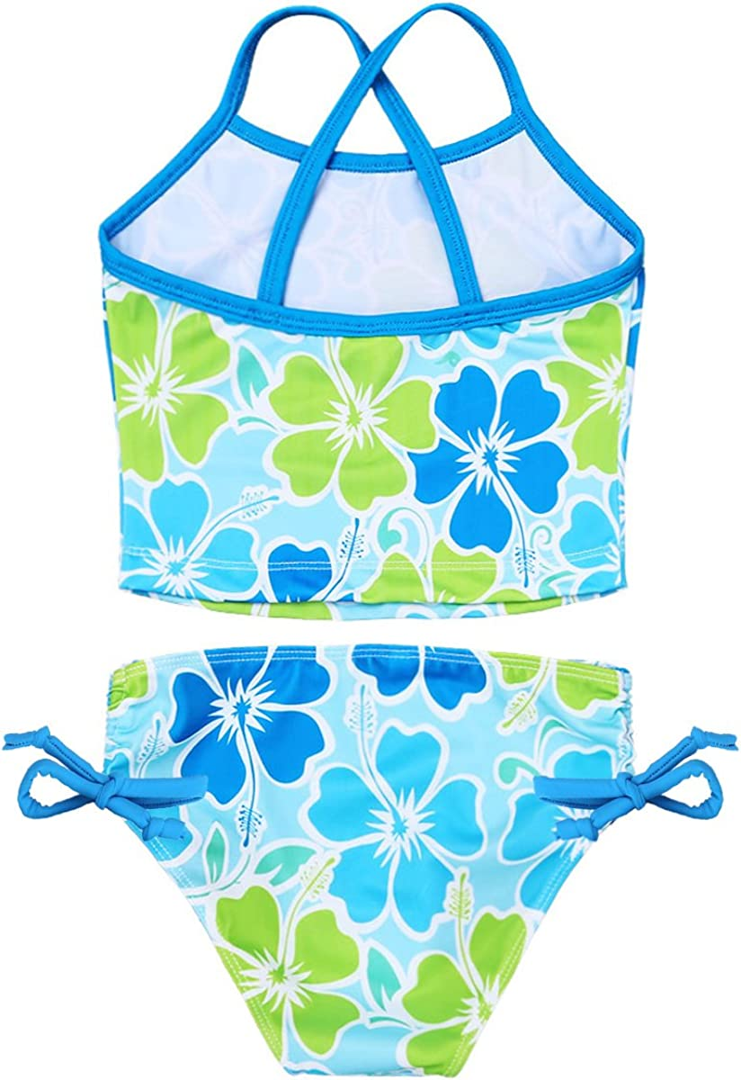 Alvivi Kids Girls 2PCS Floral Printed Tankini Swimsuit Tops with Tie Side Bottoms Set Bathing Suit