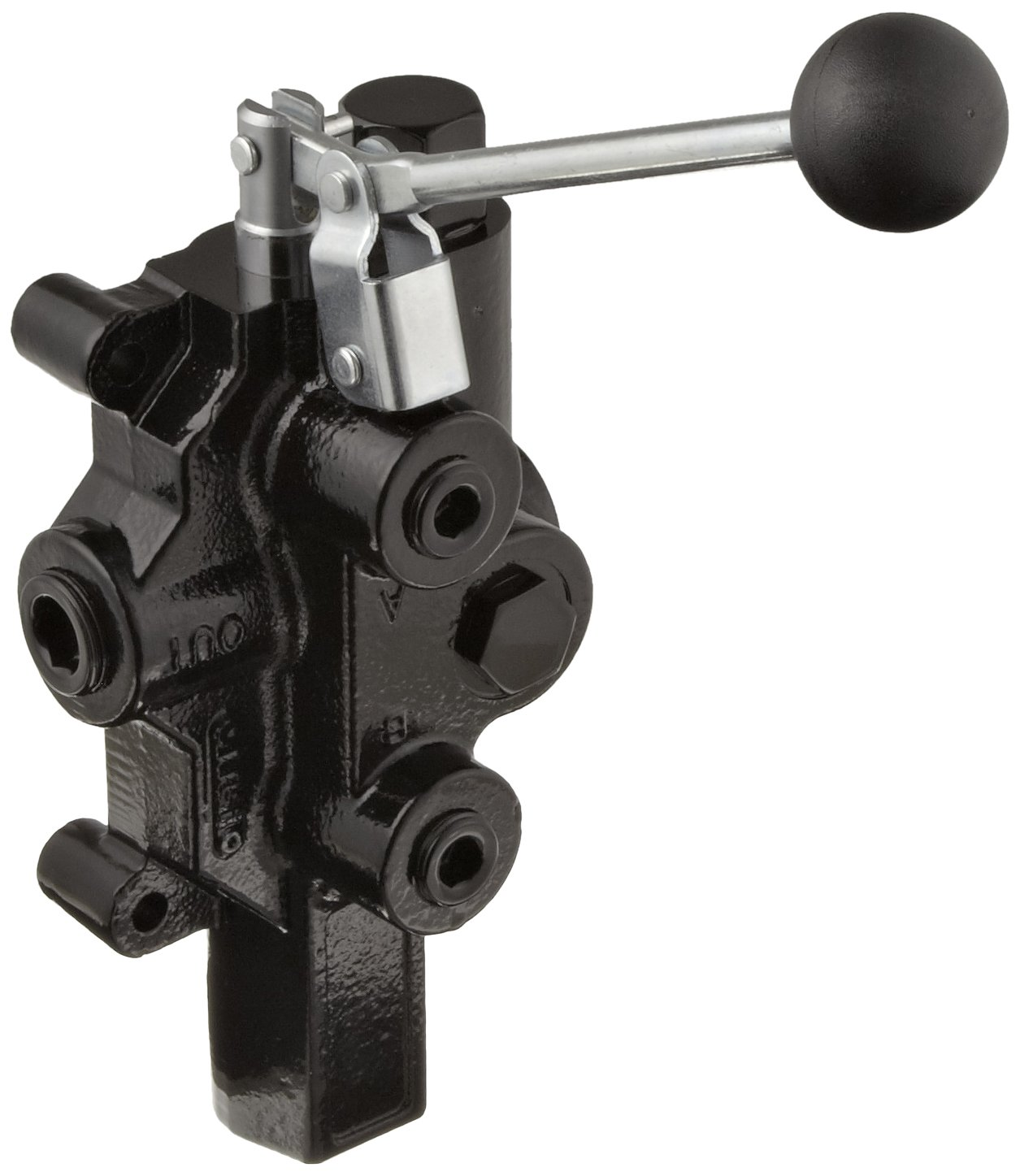 Prince RD-2575-T4-ESA1 Directional Control Valve, Logsplitter, 4 Ways, 3 Positions, Spring Center To Neutral, Cast Iron, 3000 psi, Lever Handle, 20 gpm, In/Out: 3/4'' NPTF, Work 1/2'' NPTF