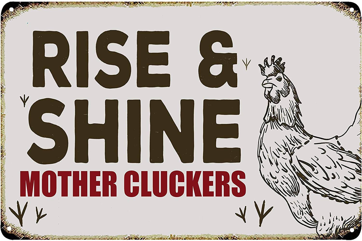 FSTIKO Rise and Shine Mother Cluckers Funny Chicken Vintage Tin Bar Sign Kitchen Wall Plaque Farmhouse Country Home Decor 8X12Inch