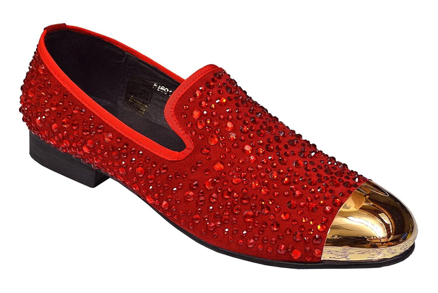7dc124c65e2 70%OFF Fiesso Men s Crystal Genuine Leather Rhinestones Italian Design Gold  Metal Hardware Loafer Shoes