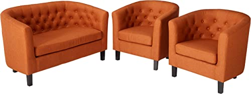 Modway Prospect Upholstered Fabric Living Room, Loveseat and Two Armchairs Set, Orange