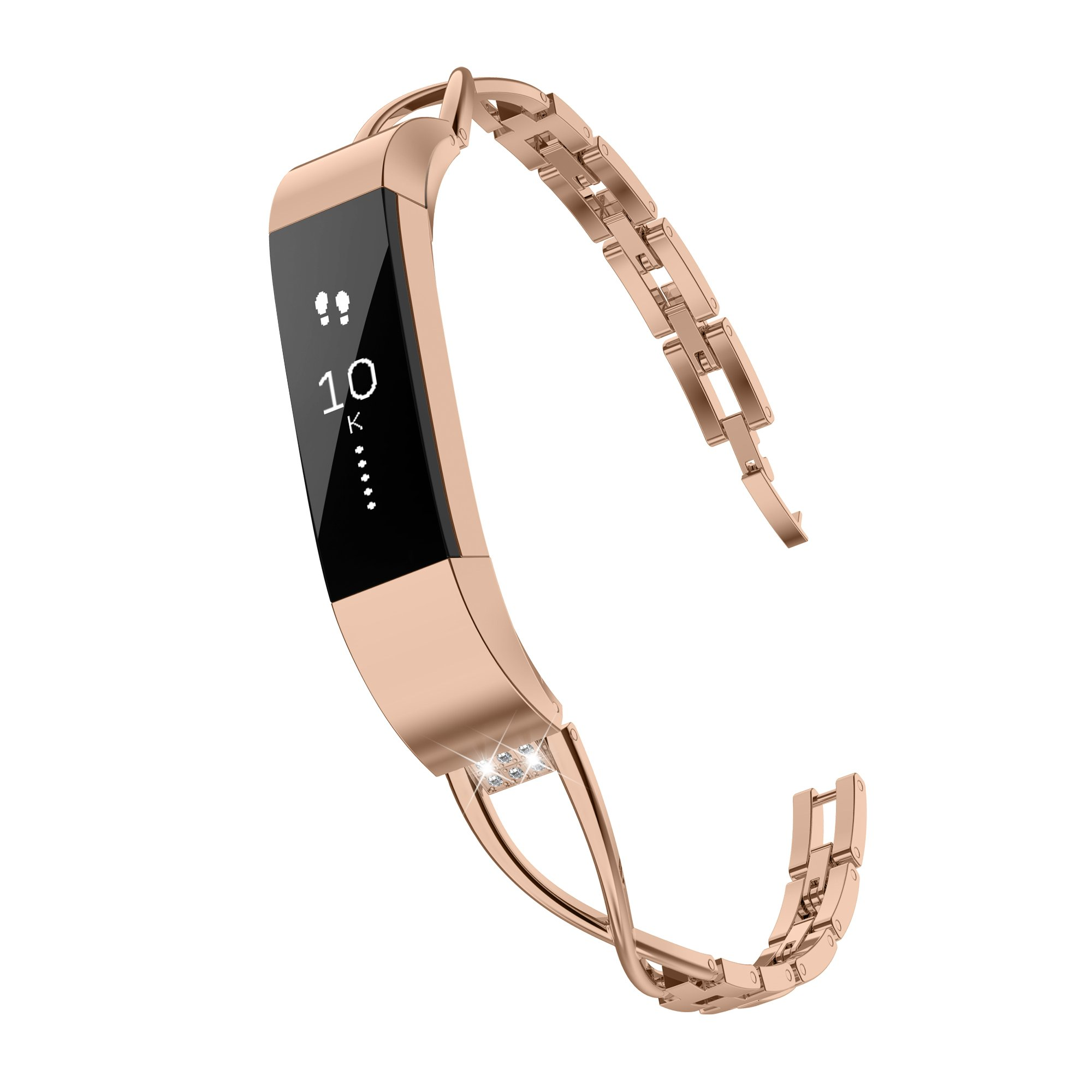 TOYOUTHS Compatible with Fitbit Alta Bands and Fitbit Alta HR Bands, Rhinestone Replacement Bands Accessories Straps Wrist Bands for Women, Rose Gold by TOYOUTHS
