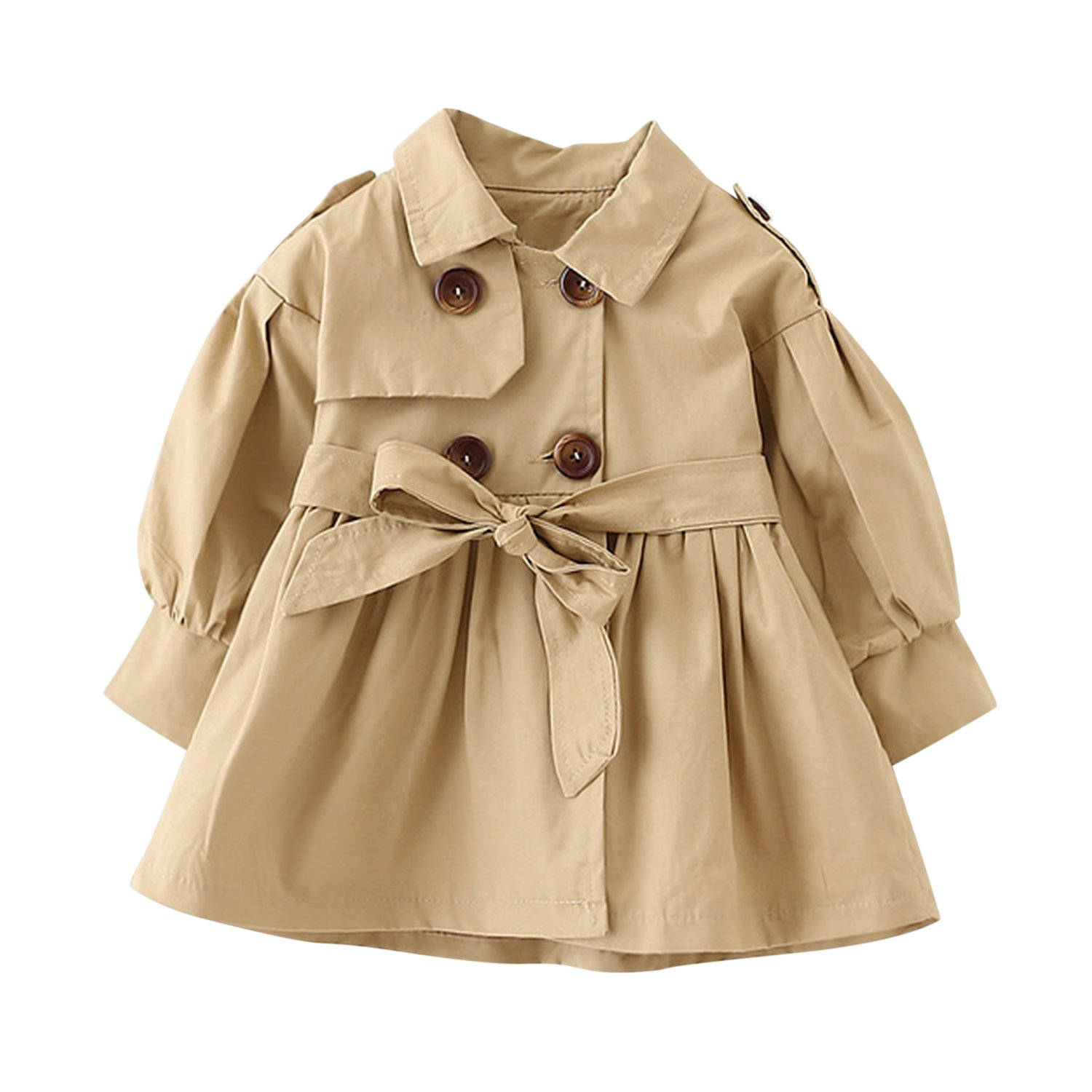 Baby Girls Trench Coat Jacket Dress with Belt Ruffle Waist Windbreaker Outwear Evelin LEE FAL0604