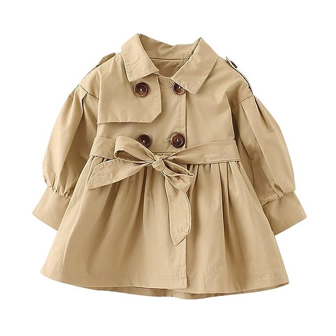 1b6436fdc4 De feuilles Baby Mädchen Jacke Prinzessin Klassische Mantel Trenchcoat  Sweatjacke Prinzessin Windbreaker mit Gürtel Kinderjacken Kleidung