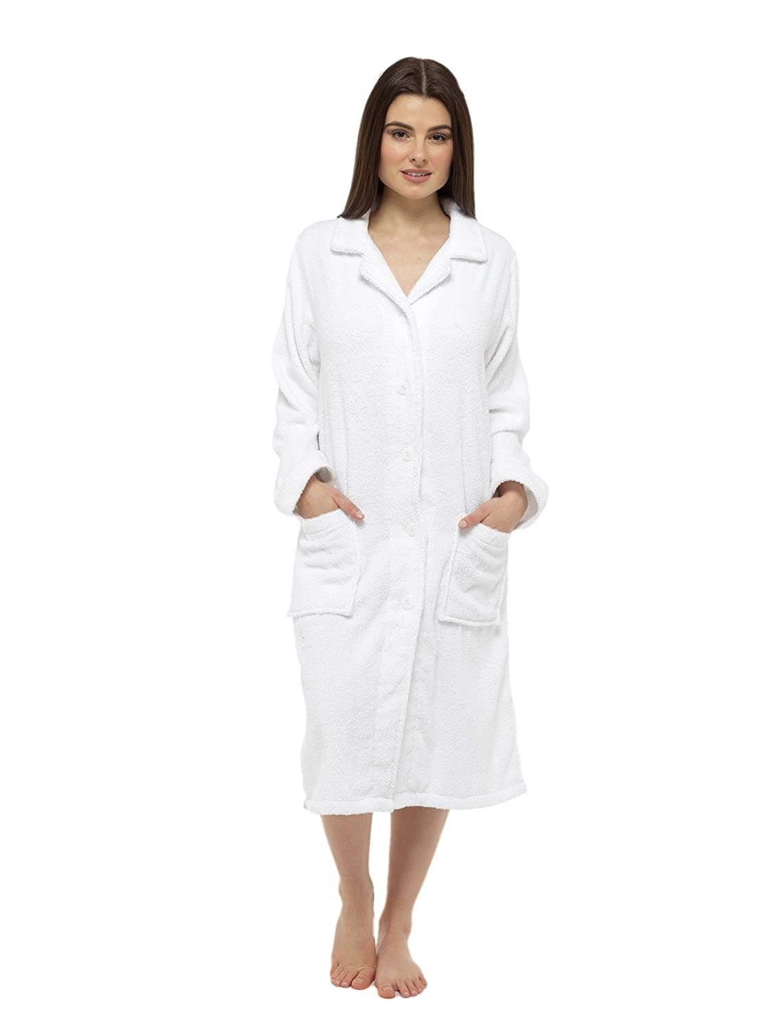CityComfort® Towelling Dressing Gown For Women Button Through or Zip ...