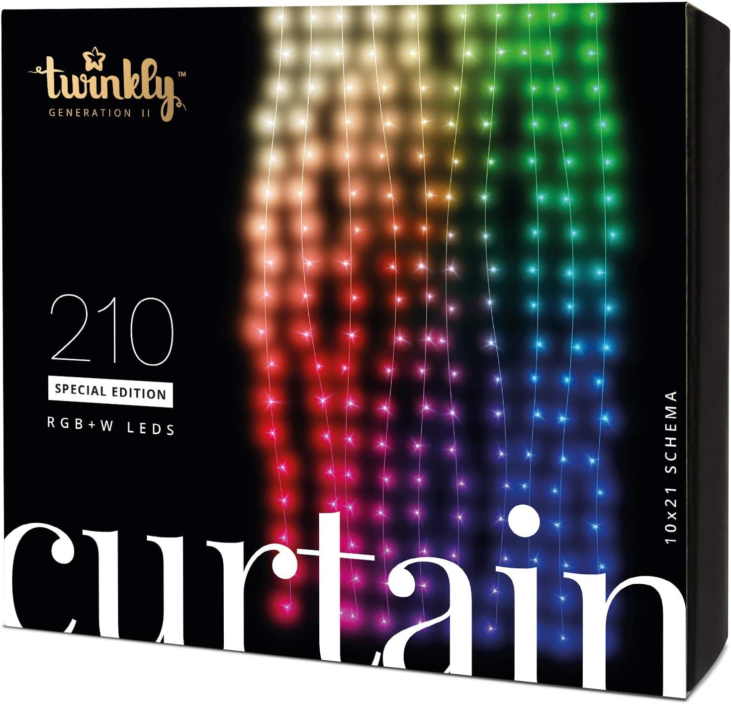 Twinkly Smart Decorations Custom LED Fairy Light Curtain – App Controlled Light Strings with 210 RGB+W LED Lights – IoT Ready Customizable Lighting – Create or Download Light Displays (3.2x7.2-Foot)