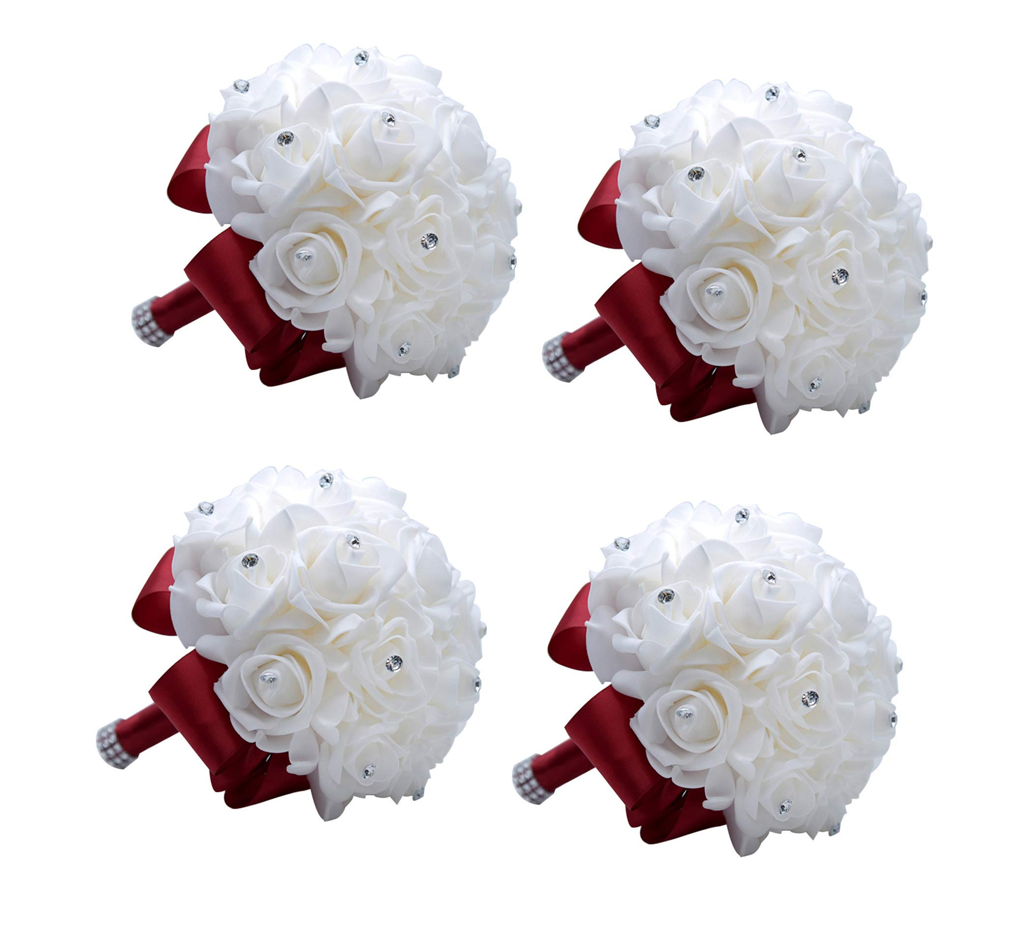 silk flower arrangements mojun wedding bouquets crystal pe roses bridal bridesmaid wedding hand holding bouquet artificial fake flowers toss bouquet, 4 pack burgundy