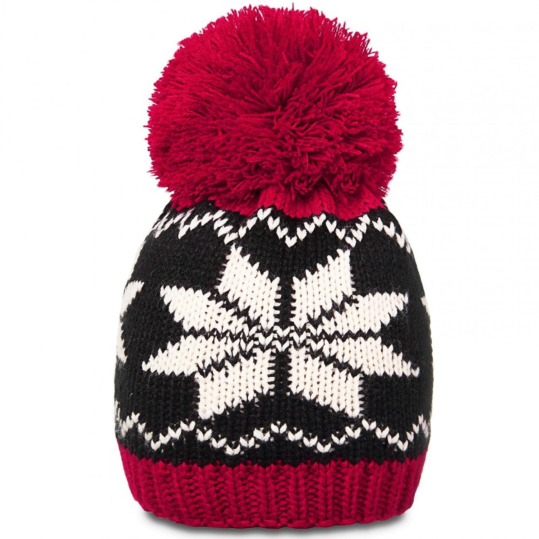 CASPAR Damen Winter Strickmütze / Bommelmütze / Skimütze mit Norweger Muster und riesigem Bommel - in grau & schwarz - MU109