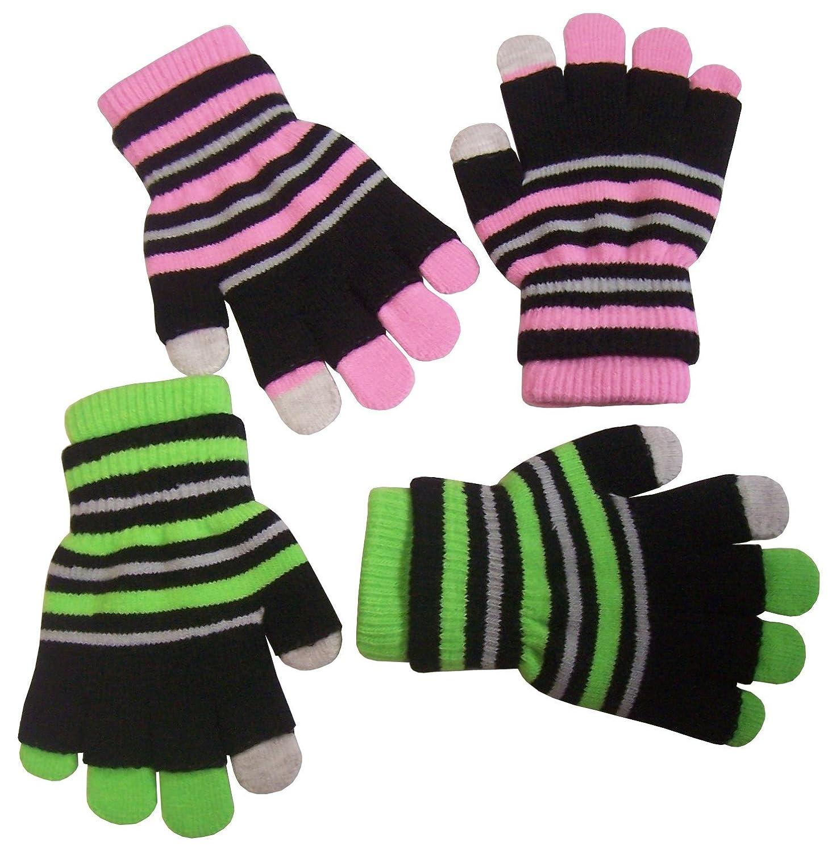 N'Ice Caps Girls Multi Pair Magic Glove And Texter Pack fuchsia/purple/black) 220261