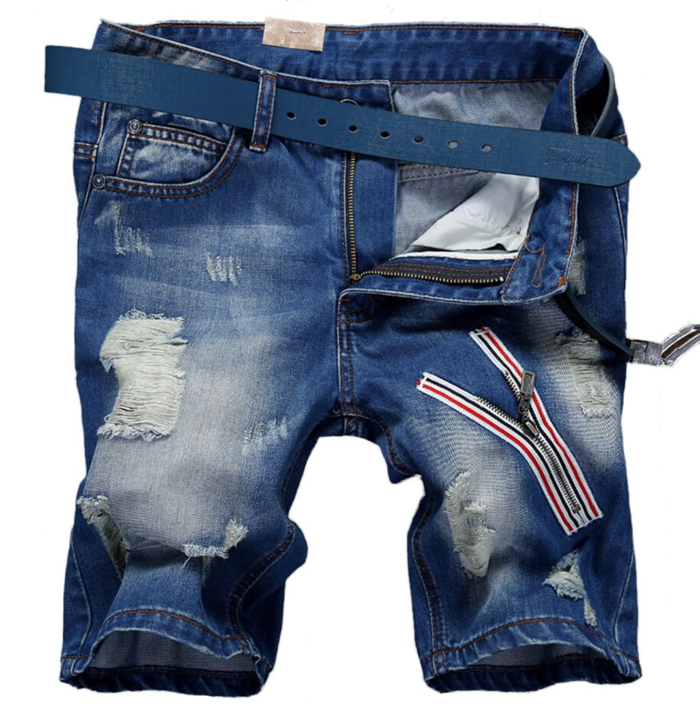 Men's Fashion Faded Ripped Denim Shorts with Zipper Deco S686 Blue 36