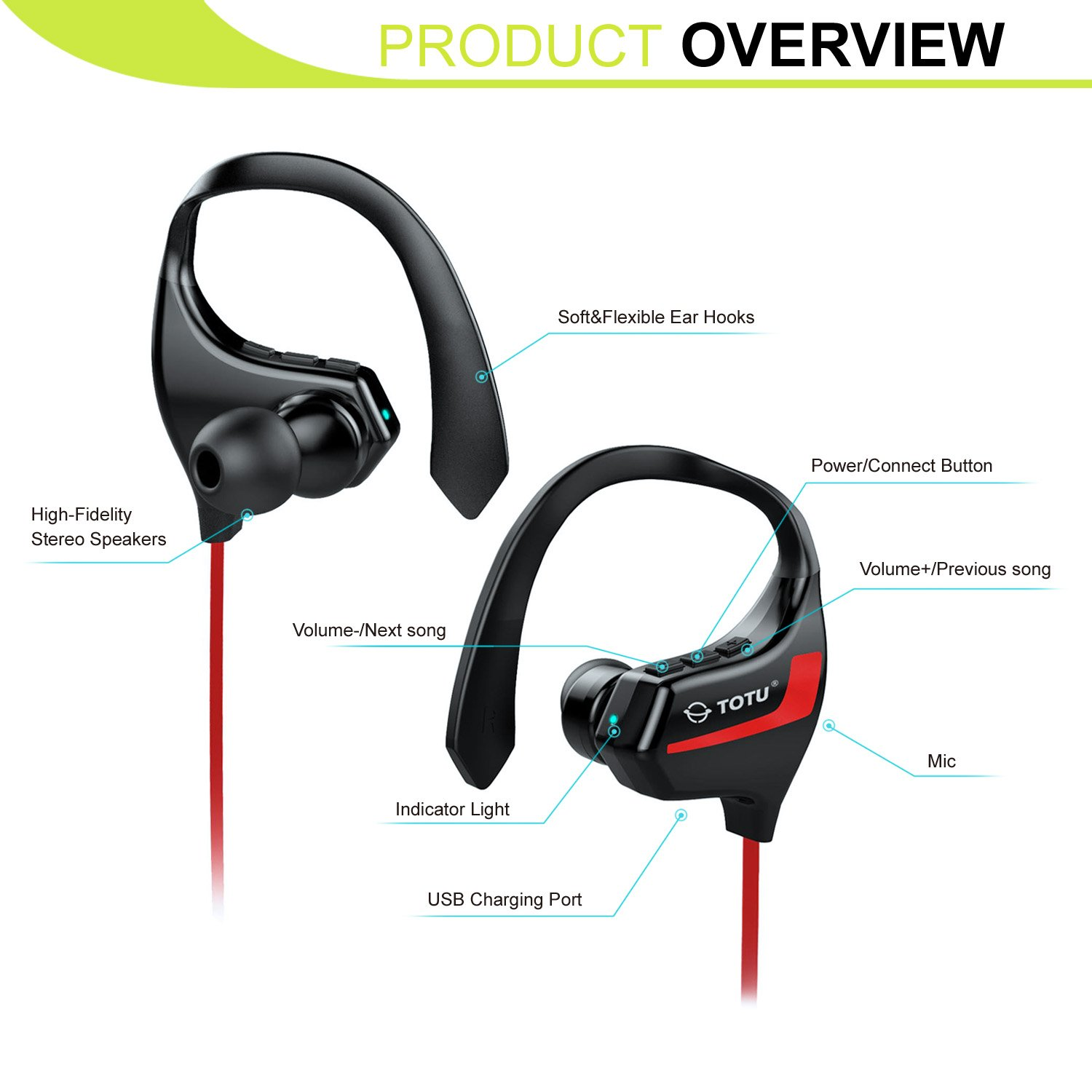 Totu Bt 2 V41 Bluetooth Headphones Wireless Music Stereo Sports Headset Red Headphone Jack Wiring That Home Audio Theater