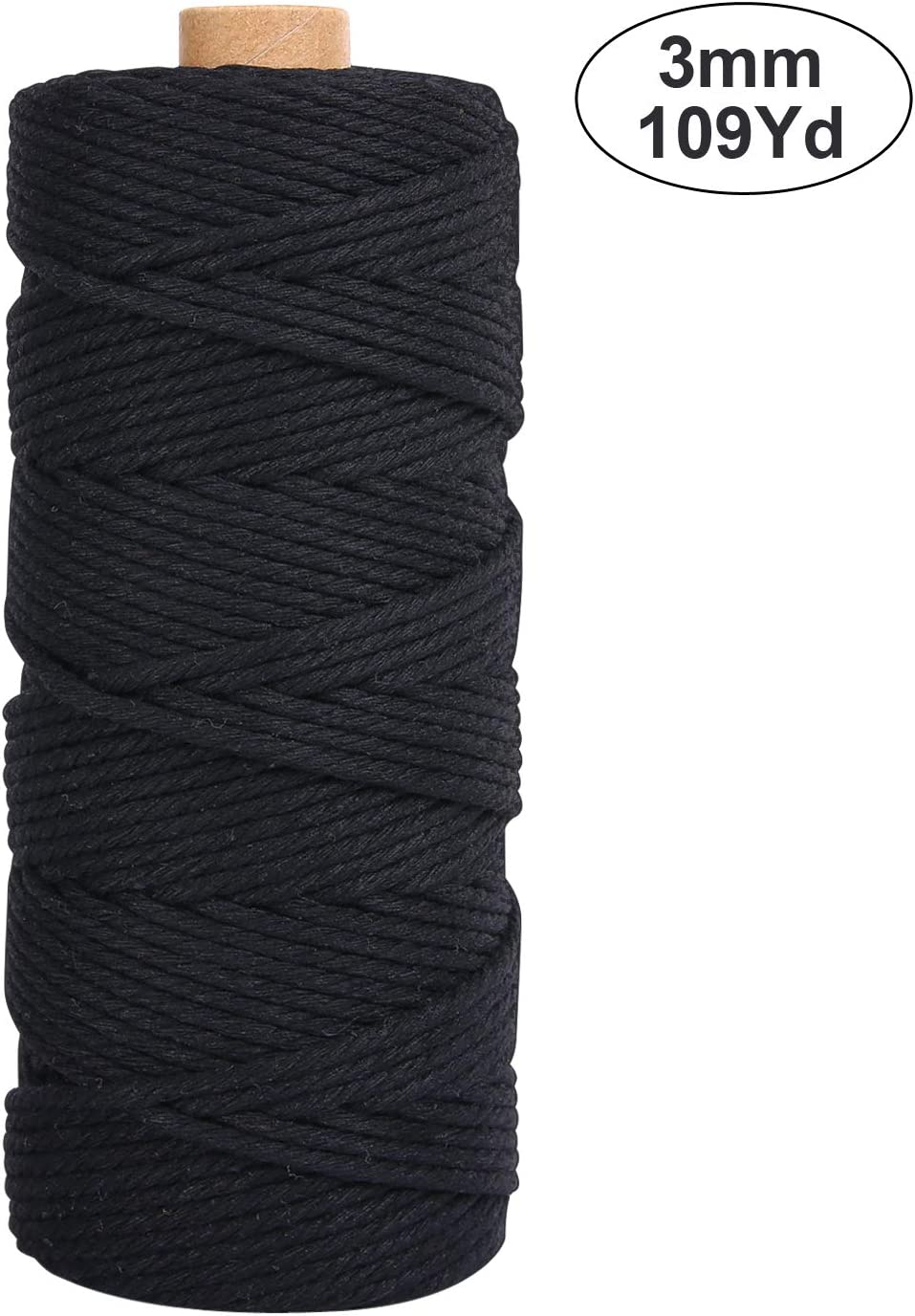 Macrame Cotton Cord 3mm 109 Yards 100/% Natural Macrame Cotton Rope Crafts Perfect for Wall Hanging Knitting Plant Hangers Decorative Projects 4 Strand Twisted Cotton Cord Black